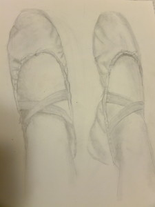 Natalie's drawing (in pencil) of her ballet feet