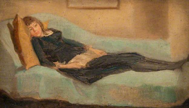 """Girl Resting on a Sofa"" by Beatrix Whistler"